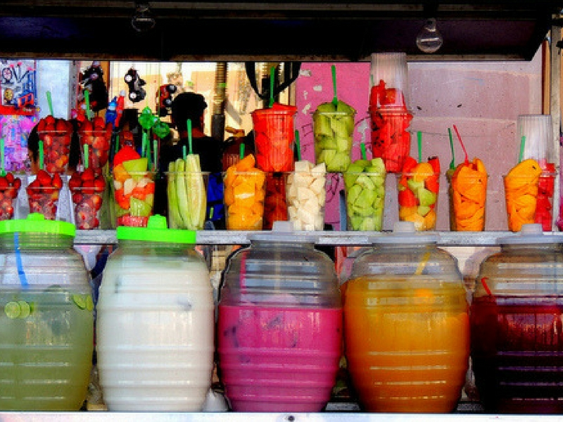 Aguas frescas at an oudoor market